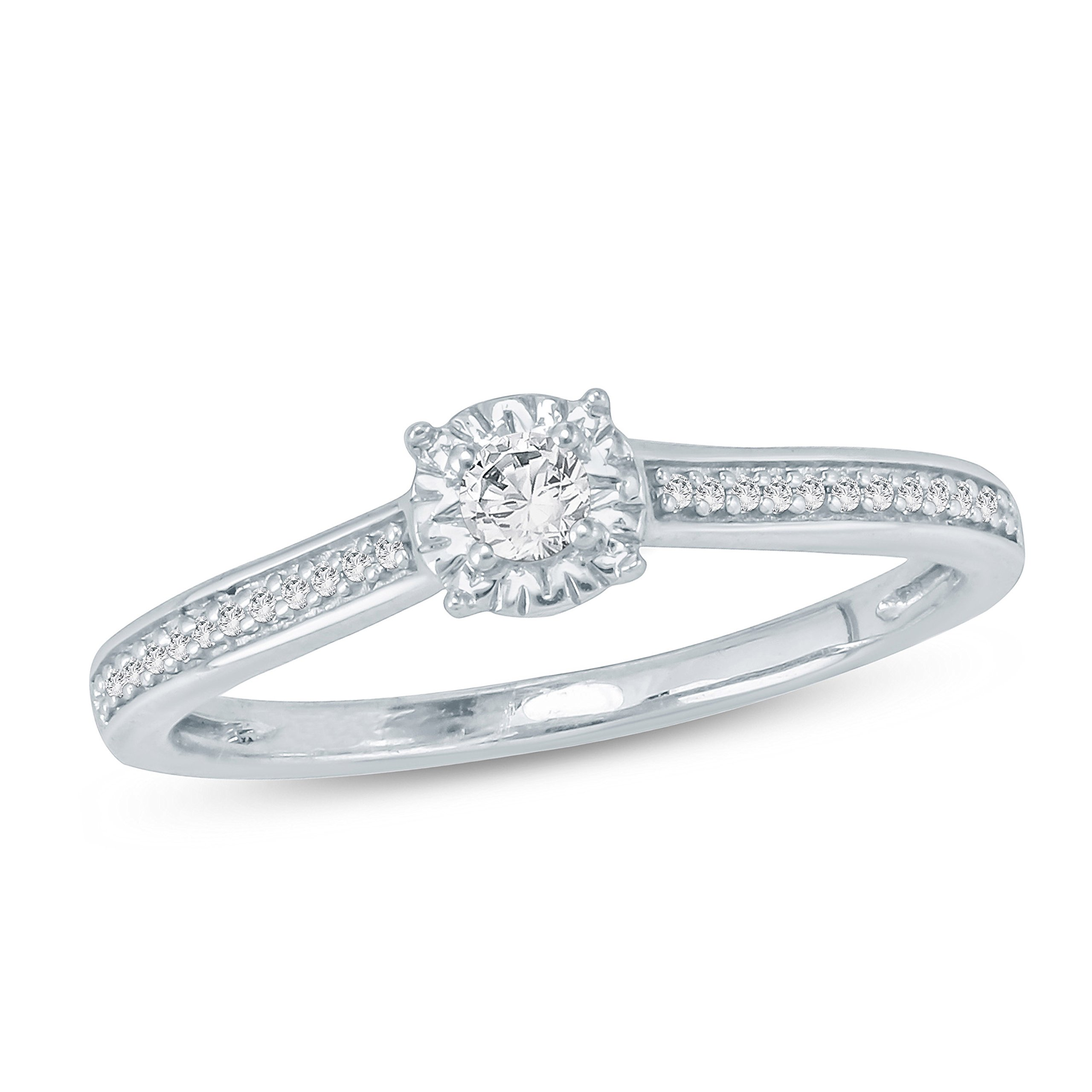 Tesero Mio 10K White Gold 1/6 Carat Round Cut (I-J Color, I2-I3 Clarity) Natural Diamond Promise Ring for Her, US Size 7