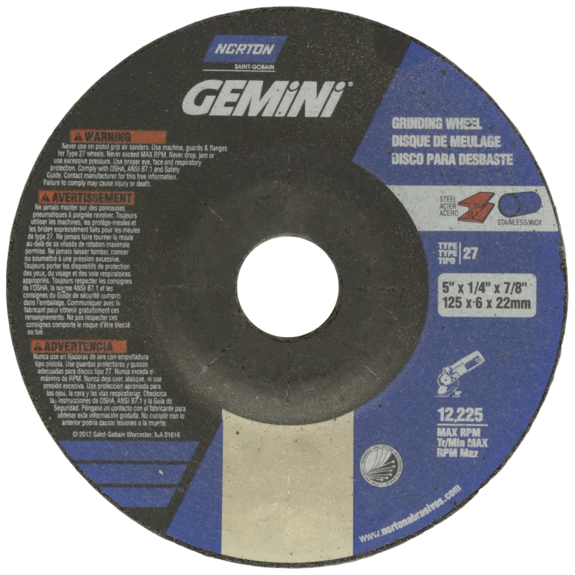 Norton Gemini Depressed Center Abrasive Wheel, Type 27, Aluminum Oxide, 7/8'' Arbor, 5'' Diameter X 1/4'' Thickness  (Pack of 25)