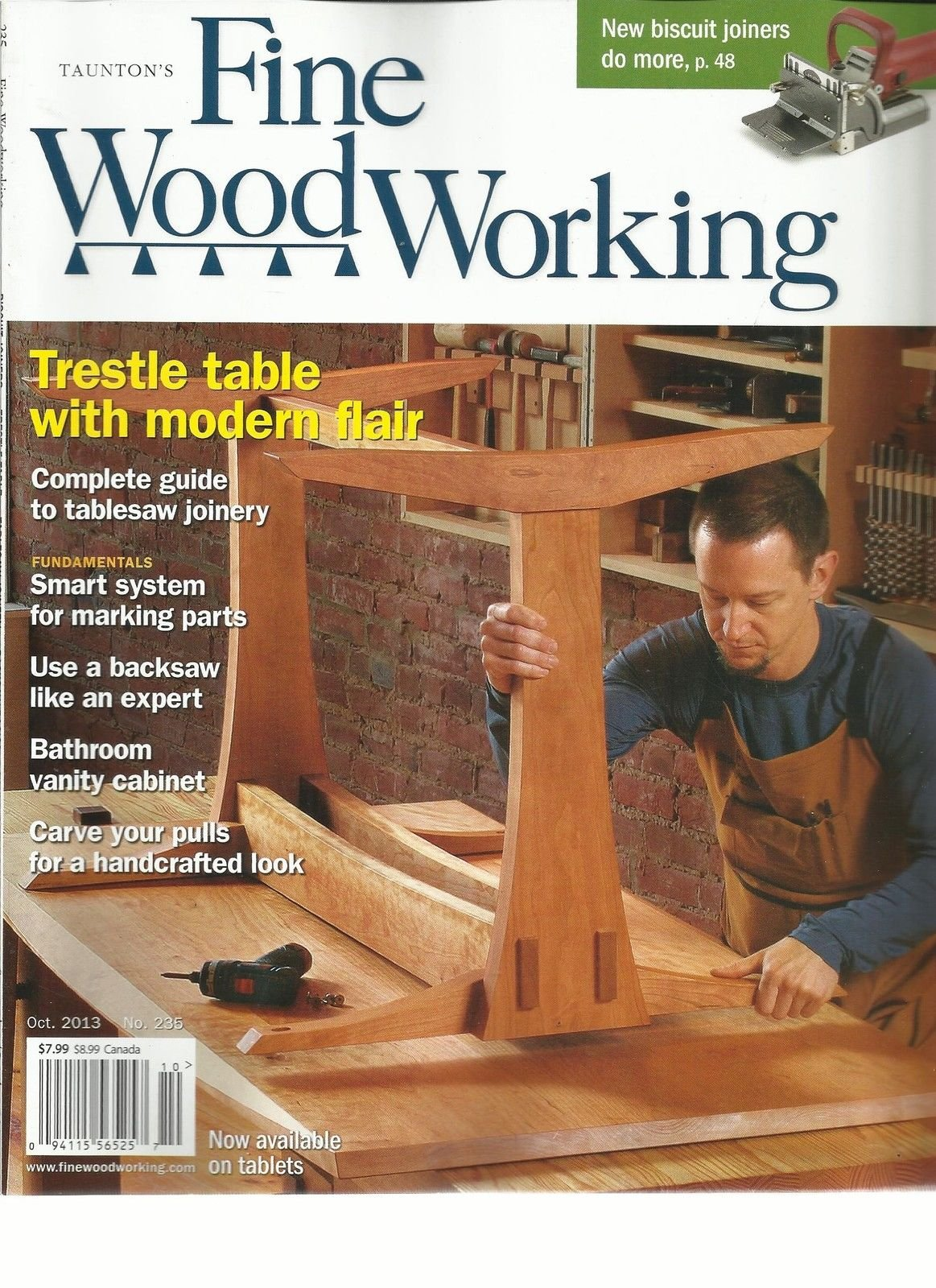 TAUNTON'S FINE WOOD WORKING, OCTOBER, 2013 (TRESTLE TABLE WITH MODERN FLAIR)