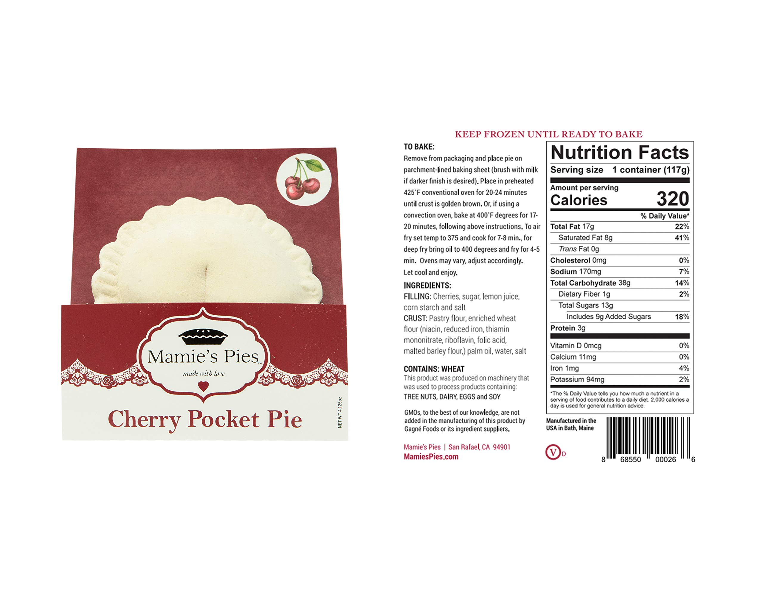 Mamie's 12 Pack Melt-in-Your-Mouth Single Serving Cherry Pies, Individually Packaged 4.5oz Pocket Pies, Preservative Free, Shipped Frozen and Ready to Bake, Made in USA. by Mamie's Pies (Image #5)