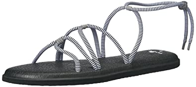 Sanuk Womens Yoga Sunrise Sandal Black/White Size 5