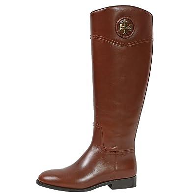 Amazon.com | Tory Burch Boots Ashlynn Venus Leather Riding Boot Flat | Boots