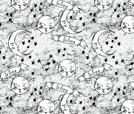 Moon fabric zodiac la luna midnight black and white by holli zollinger printed on kona cotton