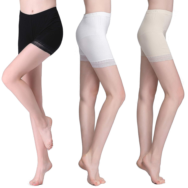 Vinconie Mujer Leggings Cortos Encaje Pantalones Capri Ropa Interior PANT_503_L_BLACK_2PACK