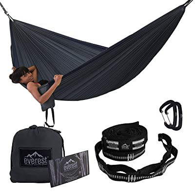 Camping Hammock - Everest | Double Outdoor Hammocks with Carabiners & Tree Saver Straps Parachute Ripstop Diamond Weave Nylon Lightweight Portable for Hiking, Backpacking & Travel: Sports & Outdoors