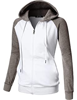 024777e9745f GIVON Womens Comfortable Long Sleeve Lightweight Raglan Zip-up Hoodie with  Kanga Pocket