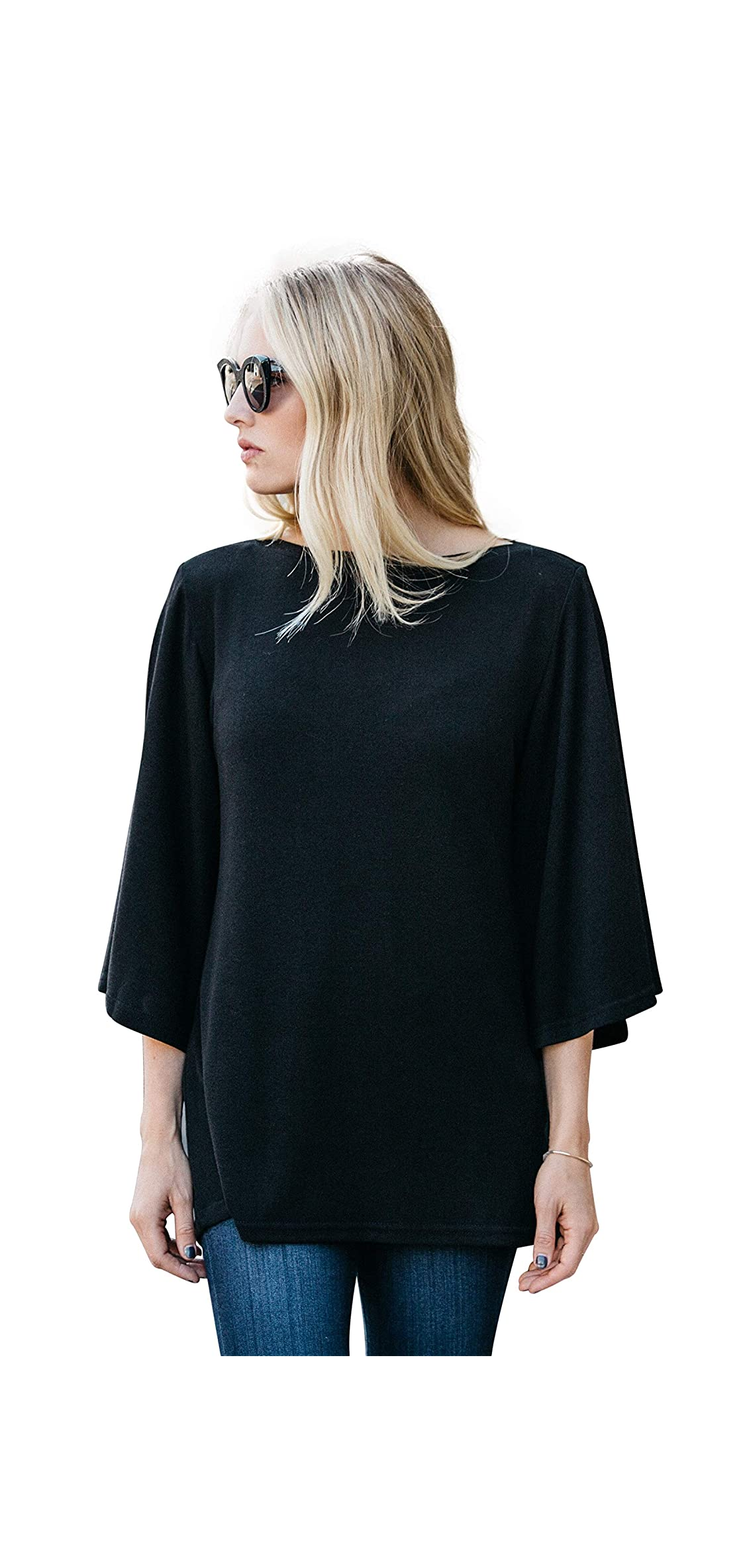 Womens Tops Boat Neck Loose Tunic Tops Flutter / Flowy