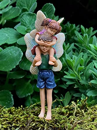 Mini Fairy Girl Boy Kid Piggyback Ride Figurine Garden Accessory Outdoor Decor