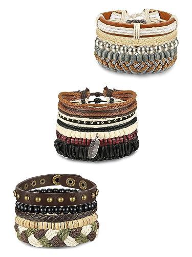 82f51c1ae13 BESTEEL 15PCS Bracelet Cuir pour Homme Femme Perle Bois Bracelet Tressé  Chaîne Cordon Bracelet Bouddhiste