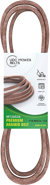 Mower Belt M126536 - Aramid Extra-Heavy Duty V-Belt - 114.450 in. - Replacement for John Deere