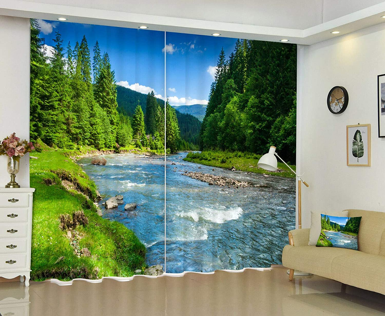 "FidgetGear 新しい封鎖ドレープ生地3Dウィンドウ壁画日当たりの良い川の風景印刷カーテン 80×84 (203×213CM) 80×84""(203×213CM)  B07Q44K983"