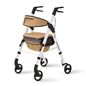 Medline - MDS86870W Momentum Rollator Walker with Seat Cushion, Premium Folding Rolling Walker, Preassembled, 6 inch Wheels, Supports up to 250 lbs, White