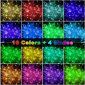 YOZATIA 66ft Led Rope Lights Outdoor String Lights with 200 LEDs,16 Colors Changing Waterproof Starry Fairy Lights Plug in for Bedroom,Indoor,Patio,Home Decor