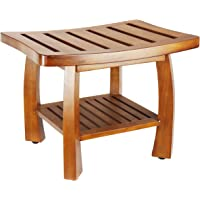 Oceanstar SB1521 Solid Wood Spa Bench with Storage Shelf, Teak Color