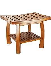 Oceanstar Solid Wood Spa Bench with Storage Shelf, Teak Color