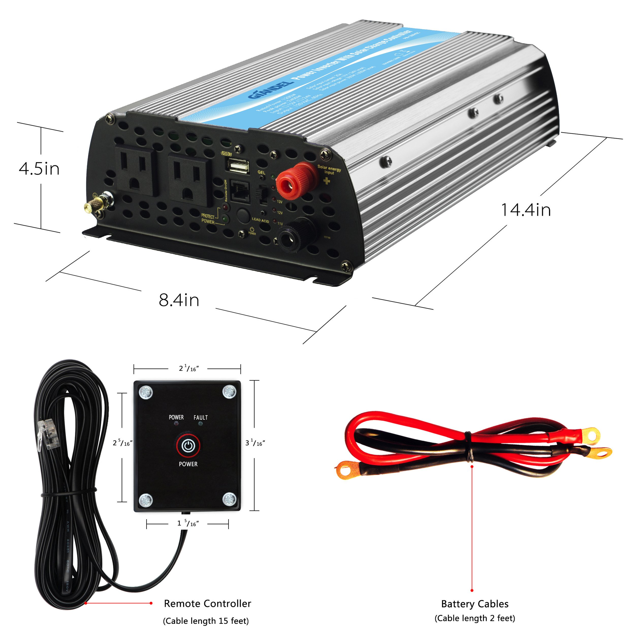 Giandel 1200Watt Power Inverter 12V DC to 110V 120V AC with 20A Solar Charge Controller Remote Control Dual AC Outlets & USB Port for RV Truck Solar System by Giandel (Image #4)