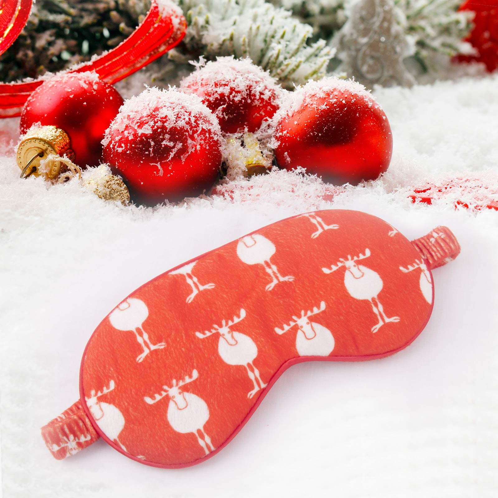 Moonen Christmas Gift Sleep Mask Eye Shade Santa Deer Soft for Women and Men with Adjustable Strap Super-Smooth Blocks Light Suitable for Travel Nap and Deep Sleep (Red)