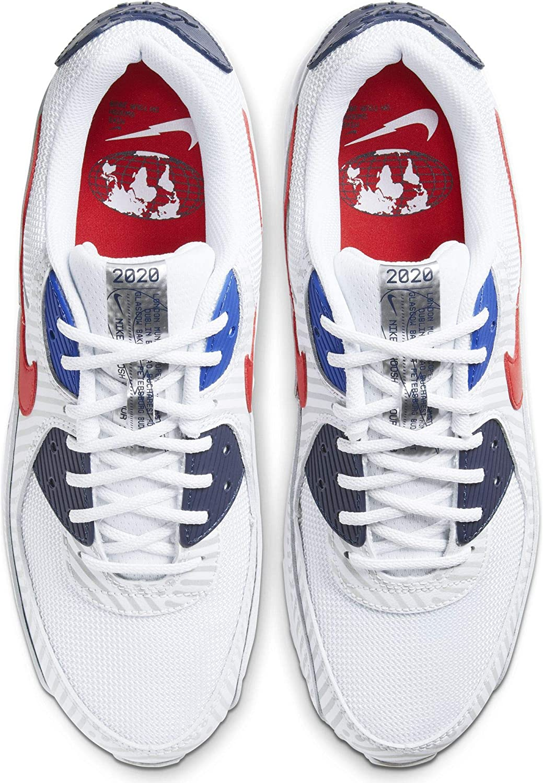 Nike Herren Air Max 90 Laufschuh White University Red Midnight Navy