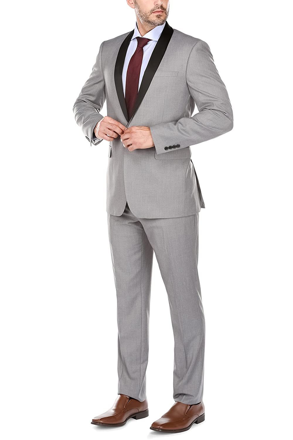 ef362c7beea8 Jacket: Fully lined, 1 button, welt chest pocket, 2 flap front pockets, 3  inner pockets, dual side vents, satin shawl collar, slim fit, single  breasted suit