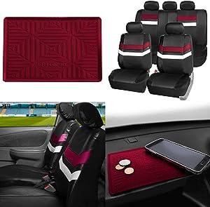 FH Group PU006115 Varsity Spirit PU Leather Seat Covers, Airbag & Split Ready w. FH3011 Silicone Anti-Slip Dash Mat, Burgundy/Black Color