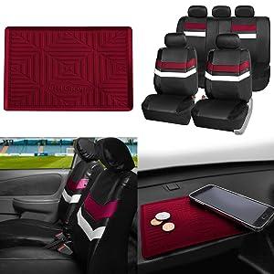 FH GROUP PU006115 Varsity Spirit PU Leather Seat Covers, Airbag & Split Ready w. FH3011 Silicone Anti-slip Dash Mat, Burgundy / Black Color