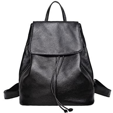 473744075b7 Black Leather Backpack Purse for Women Elegant Ladies Travel School  Shoulder Bag