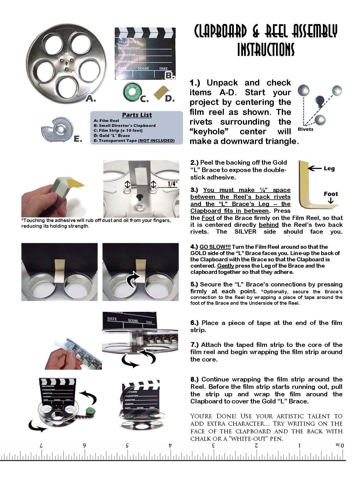 Hollywood Studio Clapboard & Reel Centerpiece - Silver