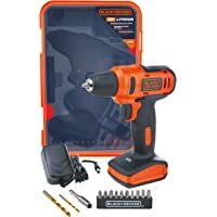 Black+Decker 12V 1.5Ah 900 RPM Cordless Drill Driver with 13 Pieces Bits in Kitbox For Drilling and Fastening, Orange…