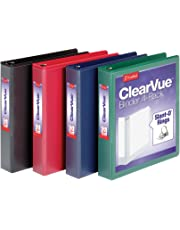 "Cardinal 1.5"" D-Ring View Binders, 4 per Pack, 1 Each Black, Blue, Green & Red (29300)"