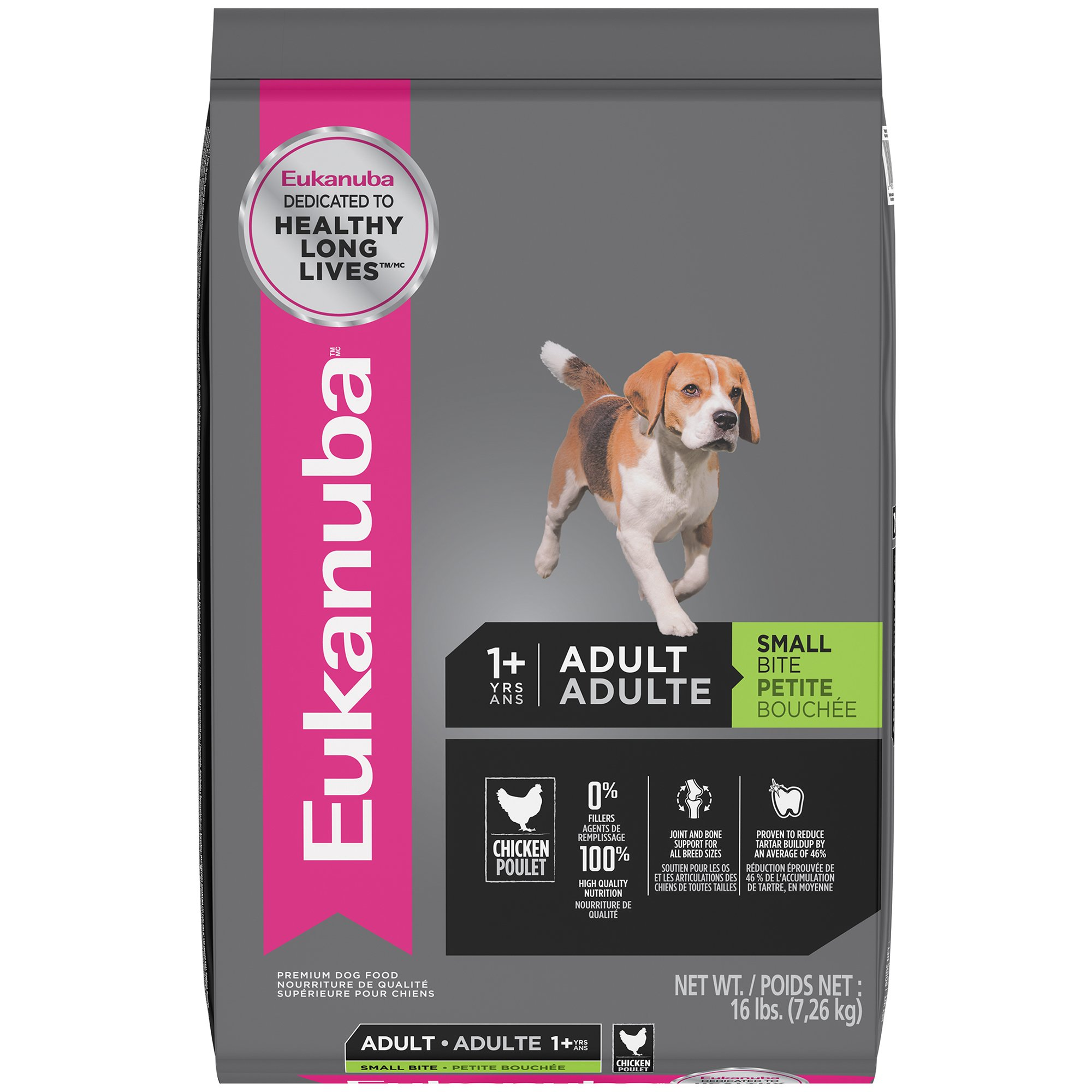 EUKANUBA Adult Dry Dog Food Standard Packaging Chicken - Small Bite 16 lbs.