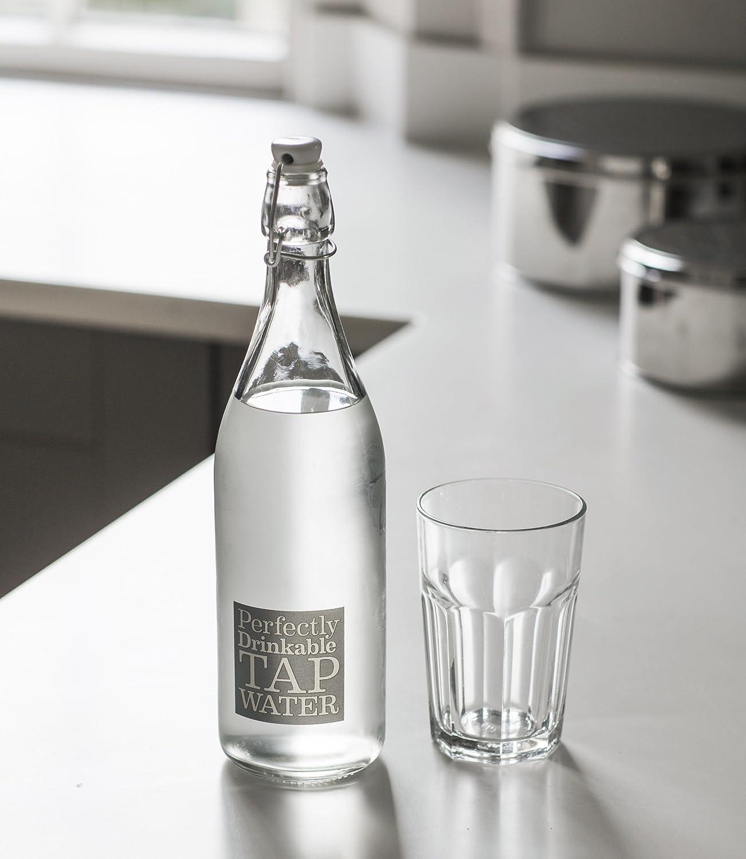 CKB Ltd® Estilo francés Mesa de Cristal Botella de Agua 1 L con Lema | Reutilizable y Recargable | Ideal para cenas Ideal para Agua Potable, Cordial y Otros ...
