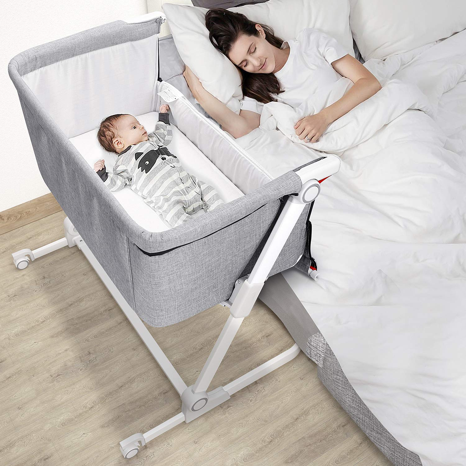 Gimars Folding Baby Beside Bassinet Sleeper,Bedside Crib Bed for Baby/Infant/Newborn Boys or Girls with Built-in Wheels (Grey)