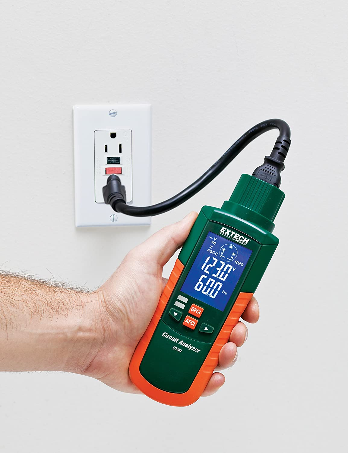 Extech Ct80 Ac Circuit Load Tester With Gfci Afci Wire 3 Wiring Besides How To A 220 Volt Outlet On Home