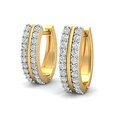 Belle Diamante 14KT Yellow Gold and Diamond Hoop Earrings Women