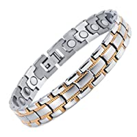 Rainso Mens Womens Titanium Magnetic Bracelet With Silver Gold Plated In Gift Bag