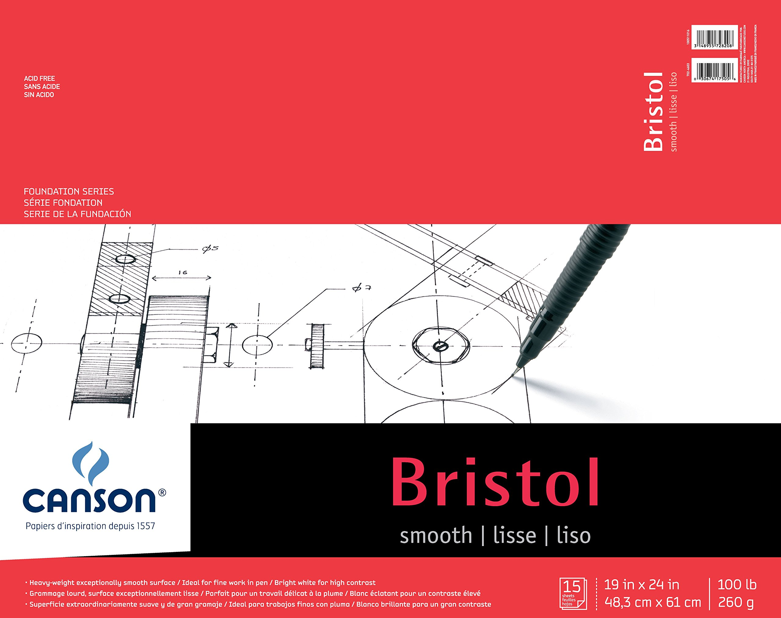Canson Foundation Series Bristol Paper Pad, Heavyweight Paper for Pen, Smooth Finish, Fold Over, 100 Pound, 19 x 24 Inch, Bright White, 15 Sheets