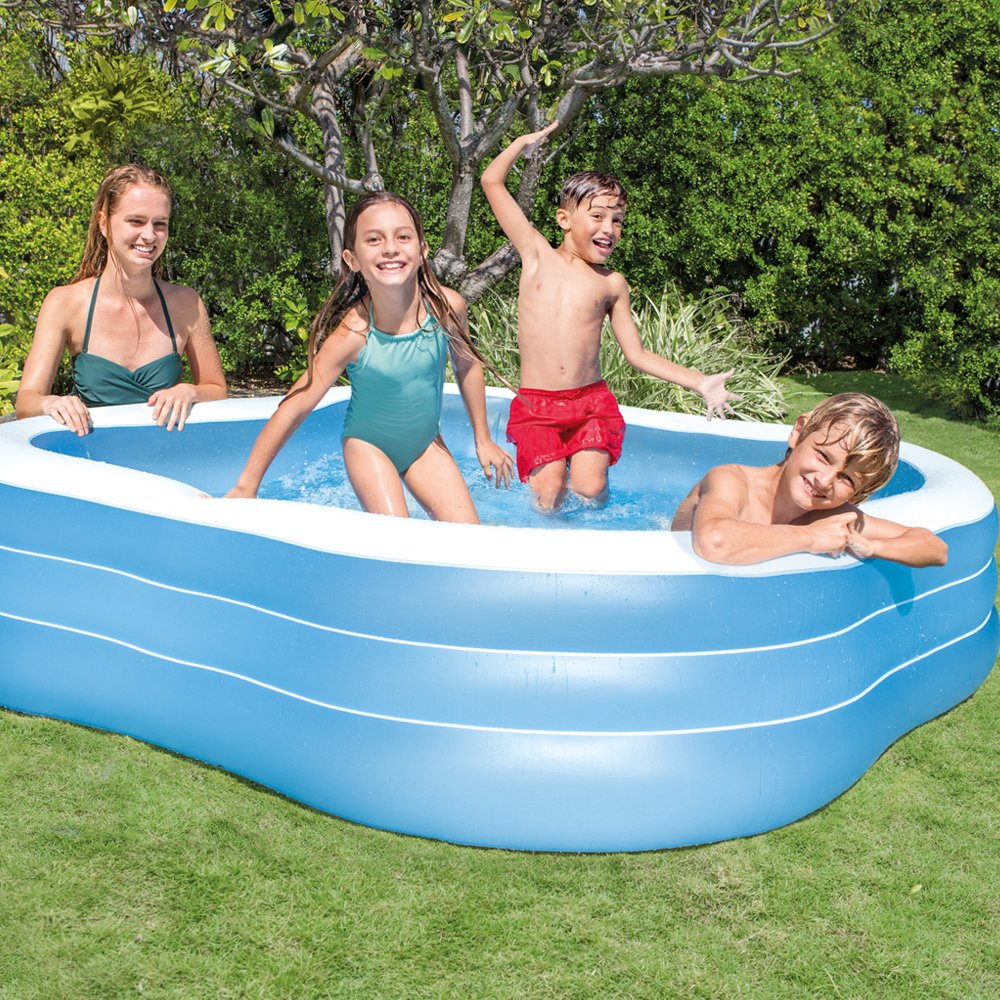 Intex Swim Center Family Inflatable Pool for Ages 6+ 90 X 90 X 22 Color may vary