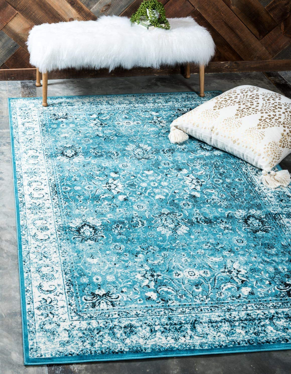 Unique Loom Imperial Collection Modern Traditional Vintage Distressed Blue Area Rug 2 0 x 3 0