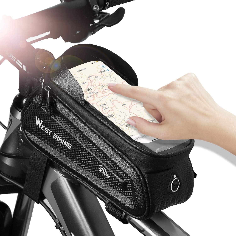 Westlight Bike Frame Bag Waterproof Touchscreen Bike Bag Mtb Road Bike Top Tube Bike Phone Bag Large Capacity Storage Bicycle Bag Suitable For Smartphones Under 7 2 Inches Amazon Co Uk Sports Outdoors