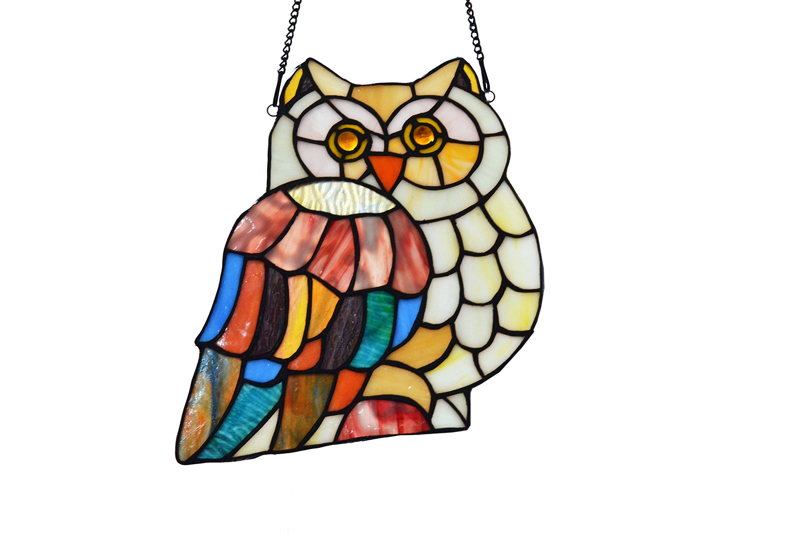 LDGJ 10''H Stained Glass Hoot's Owl Window Panel