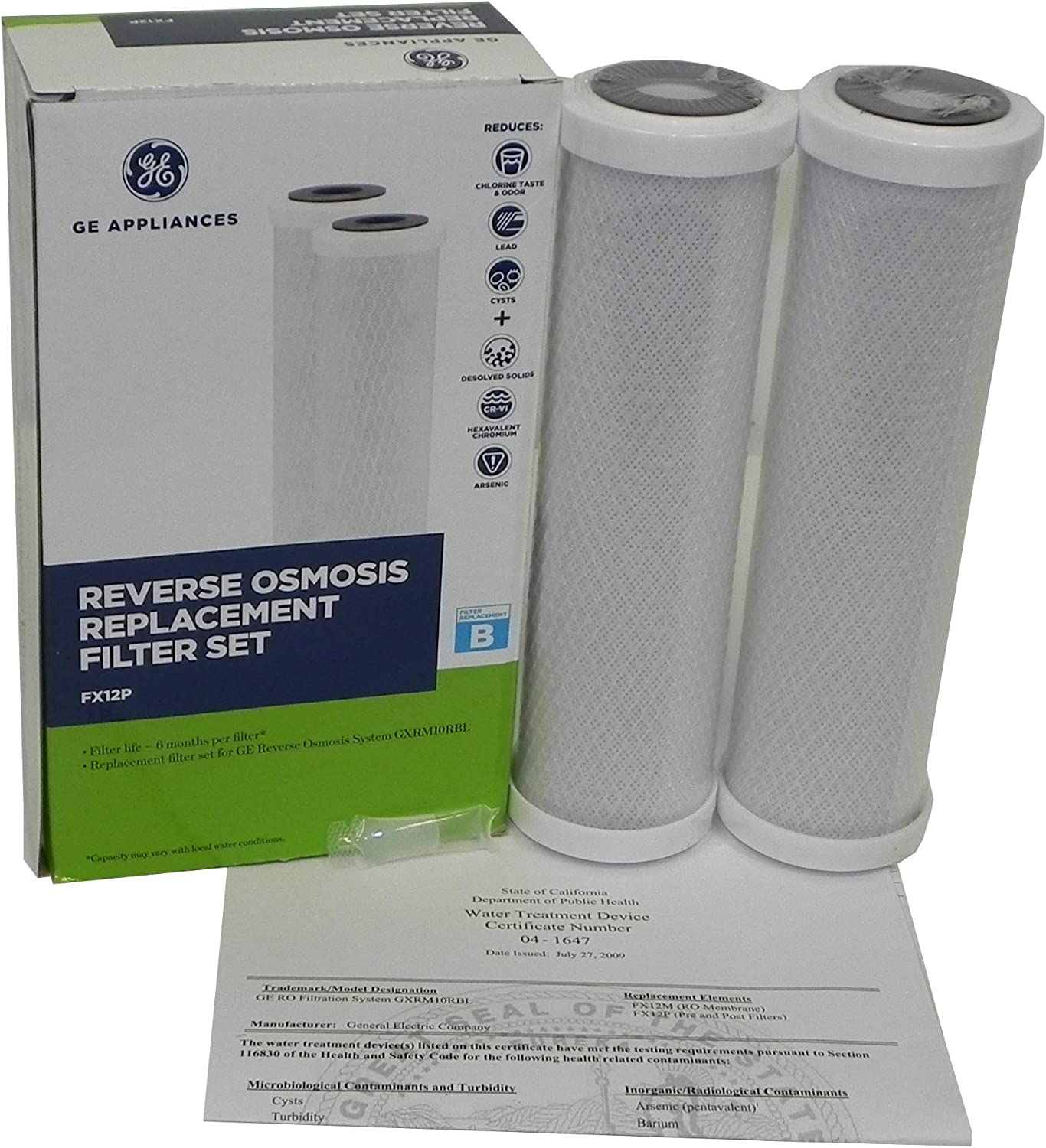 Genuine GE FX12P Replacement Filters for GE GXRM10RBL RO Systems Includes Retail Boxes, Silicon O-Ring Lubricant, Instruction, Certificate, 1 Box with 2 Filters Inside, Also for GE PNRV12 GXRV10