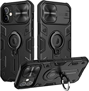 Nillkin Compatible with iPhone 12 Case/iPhone 12 Pro Case   Slide Camera Cover   Ring Kickstand   Impact Resistant Bumpers   Drop-Proof Protective Case for iPhone 12/12 Pro 6.1