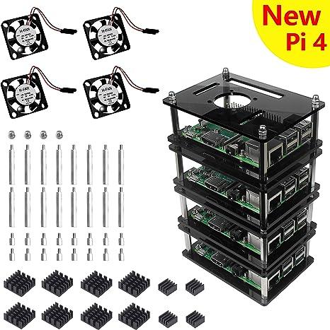 Gris Estuche Acrílico de 4 Capas Caja con Disipador Térmico de Ventilador para Raspberry Pi 3 modelo B+ Plus: Amazon ...