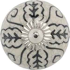 Mela Artisans 12-Pack Ceramic Knobs for Dresser Drawers - Decorative Cabinet Handles, Knobs, Pulls - Cabinet Handle for Kitchen, Wardrobe - Grey/White Dresser Knobs with Leaf Design - 1.77