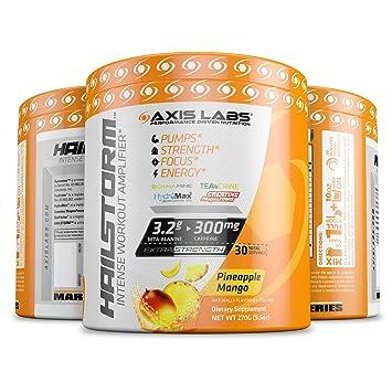 Axis Labs Hailstorm Intense Workout Amplifier, Pre Workout Formula, Pineapple Mango, 30 Servings, 9.5 Ounces