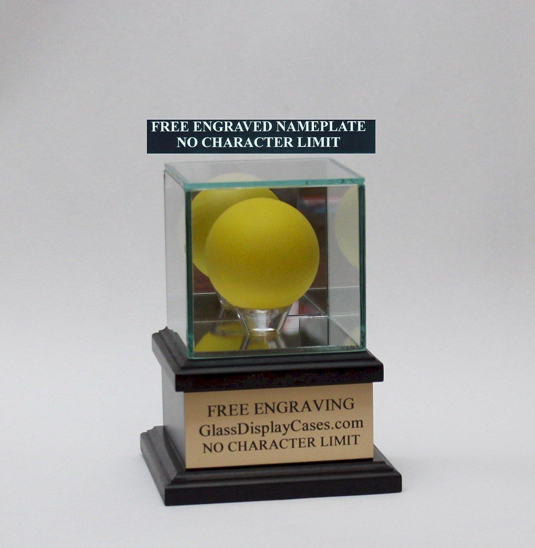 Lacrosse Ball Personalized Real Glass Display Case with Black Hardwood Platform Base /& Free Engraving