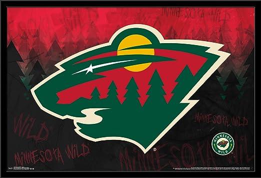 22.375 x 34 FR14299BLK22X34 Trends International Wall Poster Minnesota Wild Logo