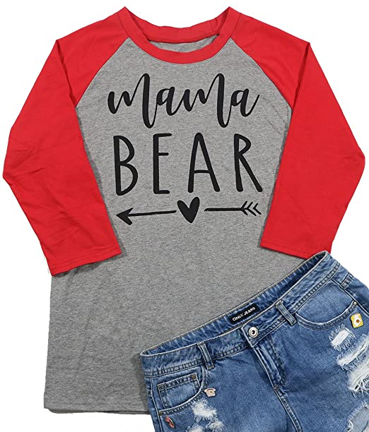 81edc2b3e Amazon.com: Mama Bear Shirts for Women Heart Arrow Graphic Splicing Loose Mama  Shirt Tee for Mom's Gift: Clothing