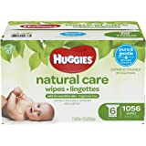 Huggies Natural Care Unscented Baby Wipes, Sensitive, 6 Refill Packs and Clutch 'N' Clean (1056 Wipes)