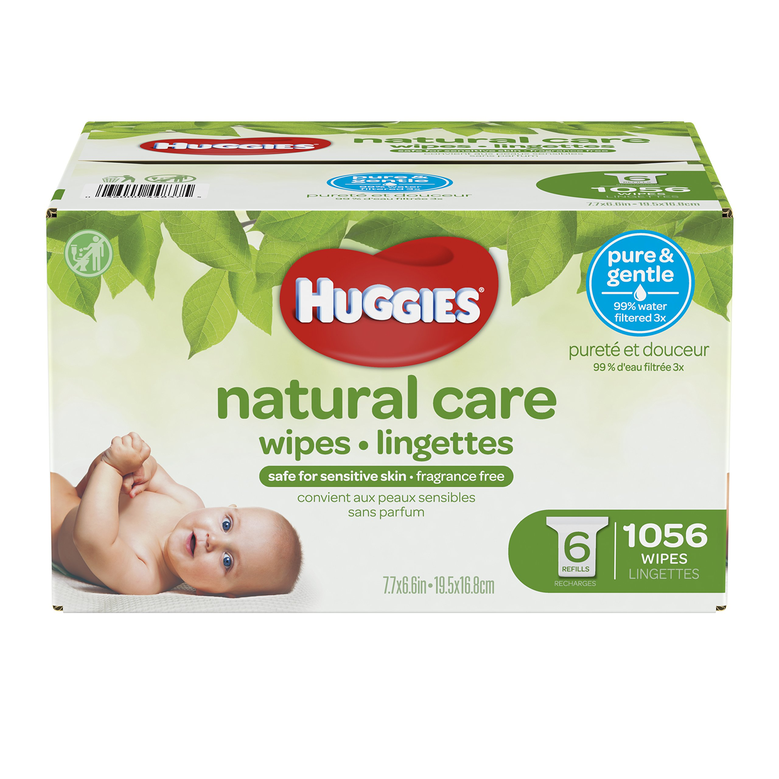 Huggies Natural Care Unscented Baby Wipes, Sensitive, 6 Refill Packs and Clutch 'N' Clean (Old Version) product image
